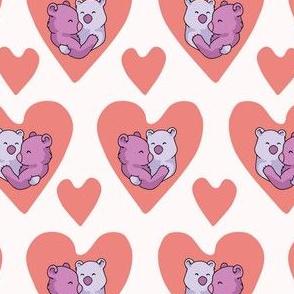 Vector coral bear hug hearts