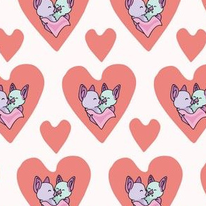 Vector coral bat hug hearts