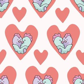 Chick hug hearts