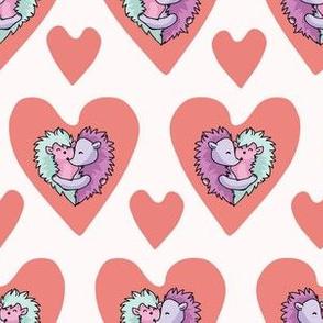 Cute hedgehog hug hearts