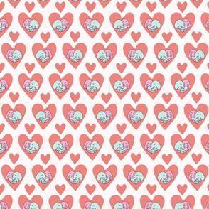 Vector cute elephant hug hearts