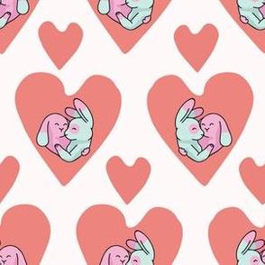 Vector cute bunny hug hearts