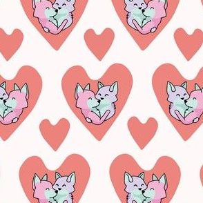 Vector cute fox hug hearts