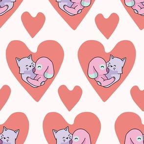 Vector cute cat dog hug hearts