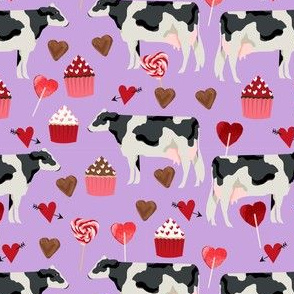cow valentines day fabric - cow fabric, cattle fabric, holstein cow, valentines fabric, farm yard valentines, farm valentines  - purple