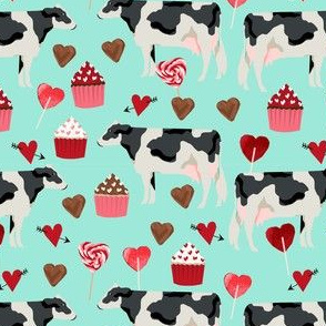 cow valentines day fabric - cow fabric, cattle fabric, holstein cow, valentines fabric, farm yard valentines, farm valentines  - mint