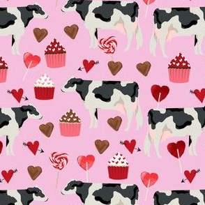 cow valentines day fabric - cow fabric, cattle fabric, holstein cow, valentines fabric, farm yard valentines, farm valentines  - pink