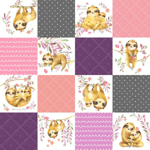 Sloth Cheater Quilt – Patchwork Blanket Baby Girl Bedding, Plum Peach Pink Grey, Design EA