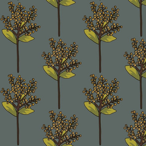 Yellow berries on slate blue