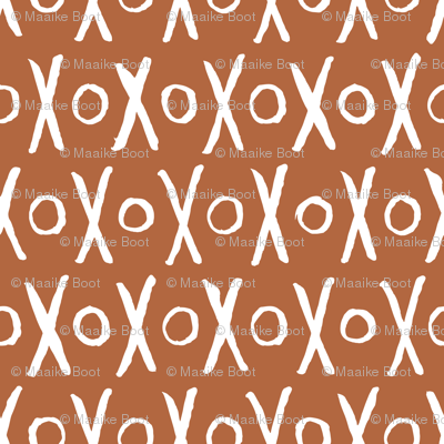 Sweet soft mudcloth hugs and kisses love valentine abstract design gender neutral copper LARGE