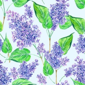 Watercolor lilac flowers