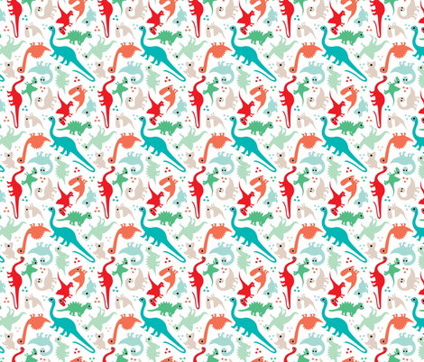 Cute baby boy dinosaur fantasy series SMALL fabric by littlesmilemakers on Spoonflower - custom fabric