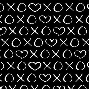 xoxo love hearts hugs and kisses print for lovers wedding and sweet valentine romance black monochrome