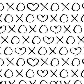 xoxo love hearts hugs and kisses print for lovers wedding and sweet valentine romance monochrome black and white