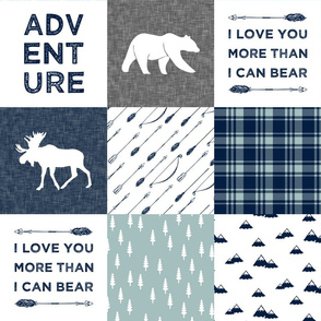 I love you more than I can bear - wholecloth || navy and dusty blue C19BS