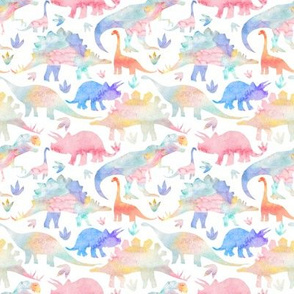 Dinosaurs - warm muted colours - rotated - smaller scale