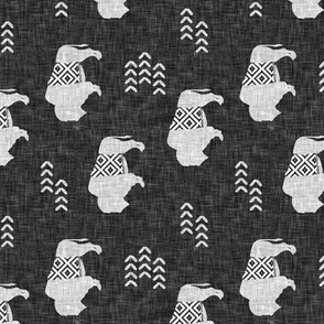 (small scale) buffalo aztec on dark grey linen (90) C19BS