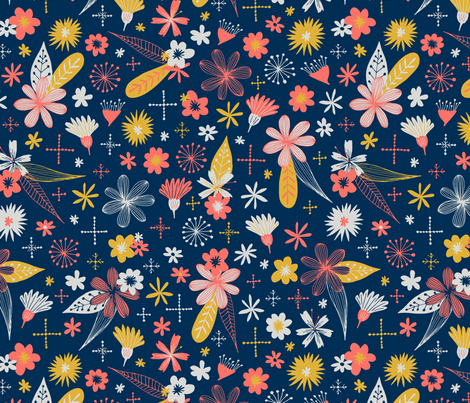 living coral floral fabric by swoldham on Spoonflower - custom fabric