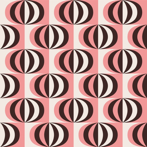 Mid century striped ovals pink fabric
