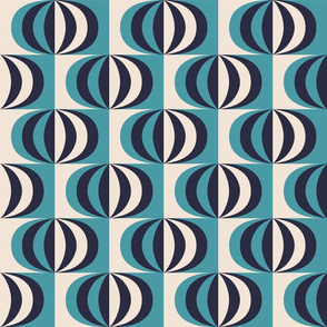Mid century striped ovals teal fabric
