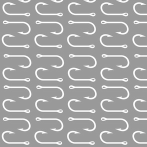 fish hooks (rotated 90) - Grey- LARGE scale