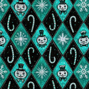 Frosty Aqua Ice Diamond Snowmen