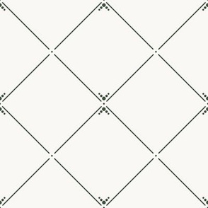 Lovely Trellis: Dusty Cream & Deep Forest Green