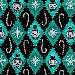 Frosty Aqua and Red Diamond Snowmen