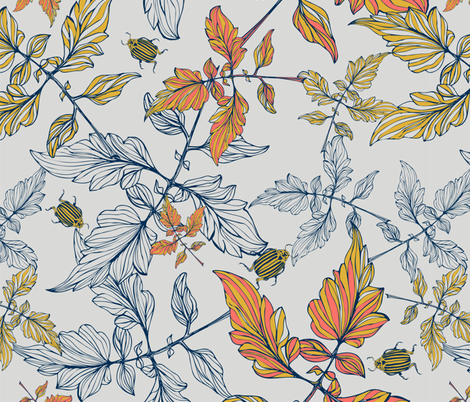 Tomatoes leaves and beetle - Pantone  fabric by mab_maborlenghi on Spoonflower - custom fabric