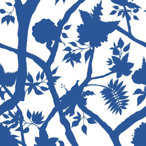 Silhouette Peony Branch Cobalt
