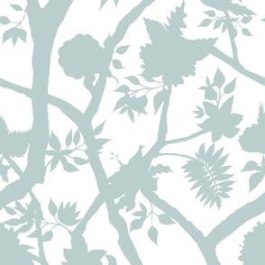 Silhouette Peony Branch Palladian Blue