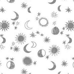 SMALL - night sky galaxy fabric // nursery baby night sky nursery grey