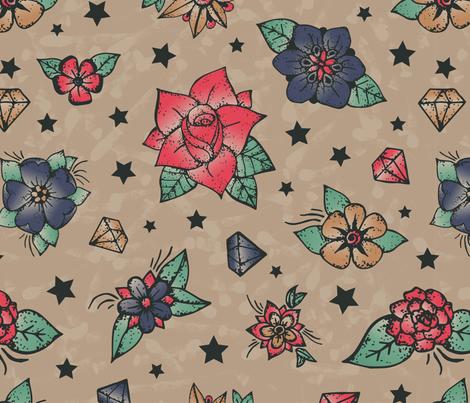 Rockabilly tattoos fabric by diseminger on Spoonflower - custom fabric
