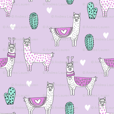 SMALLER valentine llama // alpaca llamas valentines day fabric cute nursery kids love lavender