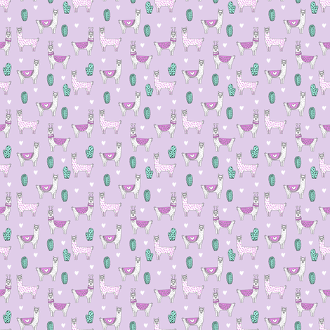 SMALLER valentine llama // alpaca llamas valentines day fabric cute nursery kids love lavender fabric by andrea_lauren on Spoonflower - custom fabric