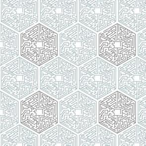 Hexagon Teal & Grey