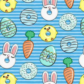 easter donuts - bunnies, chicks, carrots, eggs - easter fabric - blue on blue stripes LAD19