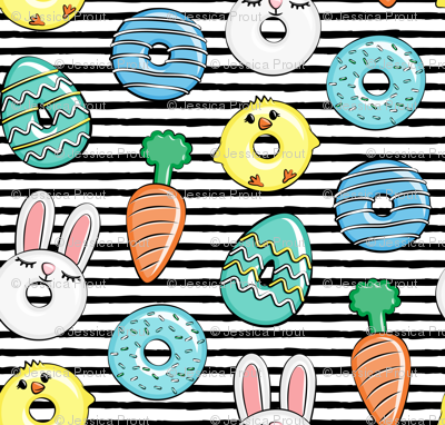 easter donuts - bunnies, chicks, carrots, eggs - easter fabric - black stripes LAD19