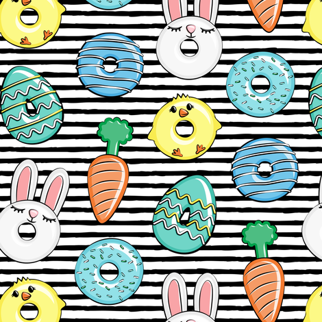 easter donuts - bunnies, chicks, carrots, eggs - easter fabric - black stripes LAD19 fabric by littlearrowdesign on Spoonflower - custom fabric