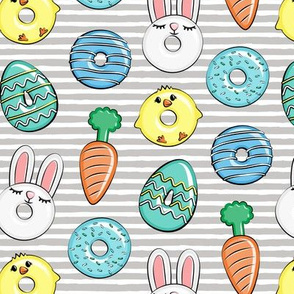 easter donuts - bunnies, chicks, carrots, eggs - easter fabric - blue on grey stripes  LAD19