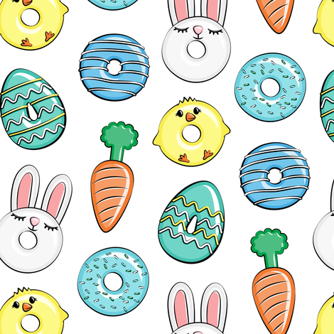 easter donuts - bunnies, chicks, carrots, eggs - easter fabric - blue LAD19 fabric by littlearrowdesign on Spoonflower - custom fabric