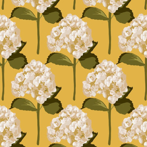 Hydrangeas on mustard yellow