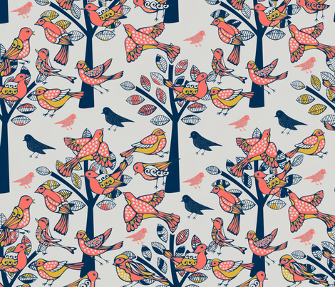 Birds Coral Living Design Challenge fabric by fabric_is_my_name on Spoonflower - custom fabric