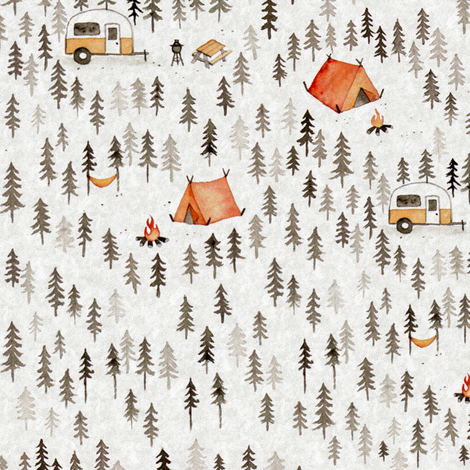 ModCamping-Large fabric by louandmoss on Spoonflower - custom fabric