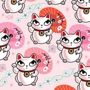 LARGE - Kyoto Kitty - Maneki Neko -on Pink