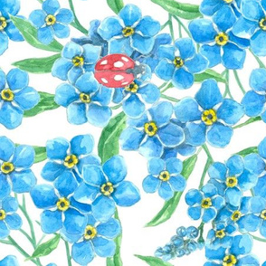 Forget me not seamless floral pattern