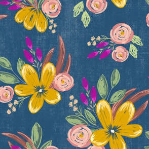 Painterly Floral on a dark blue background