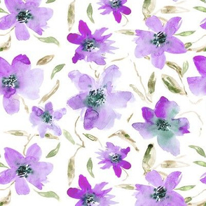 Purple bloom • watercolor floral spring pattern