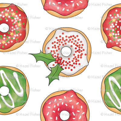 Christmas Donuts Red and Green - 4 inch