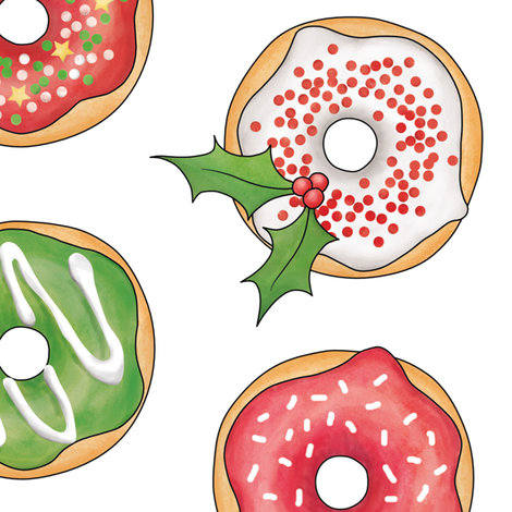 Christmas Donuts Red and Green - 4 inch fabric by hazelfishercreations on Spoonflower - custom fabric